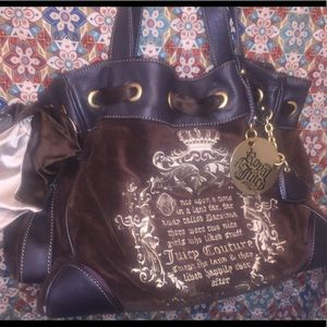 Juicy Couture's brown velvety plush shoulder bag